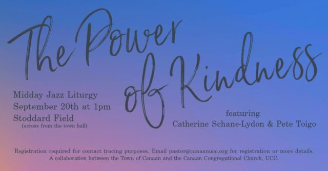 Poster of Power of Kindness midday jazz liturgy with date and time and place and musicians
